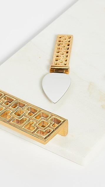 Jonathan Adler Brass Nixon Cheeseboad & Knife Set