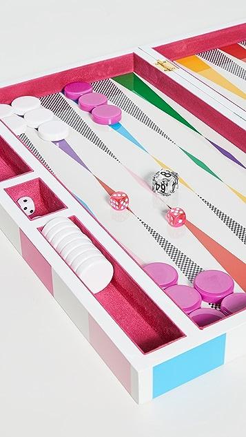 Jonathan Adler Checkerboard Backgammon Set - Rainbow