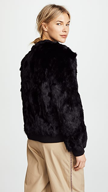 Adrienne Landau Rabbit Bomber Jacket