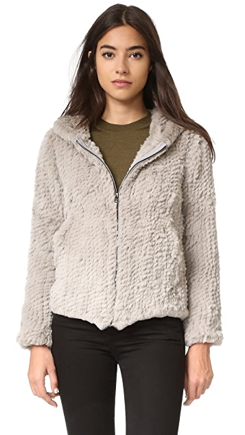 Adrienne Landau Rabbit Hooded Jacket