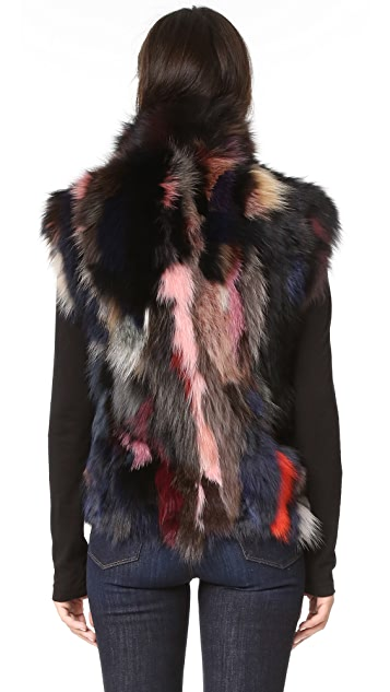 Adrienne Landau Textured Fox Vest