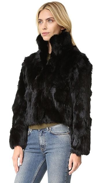 Adrienne Landau Куртка из текстурированного меха кролика