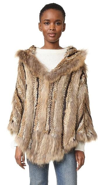 Adrienne Landau Hooded Fur Poncho