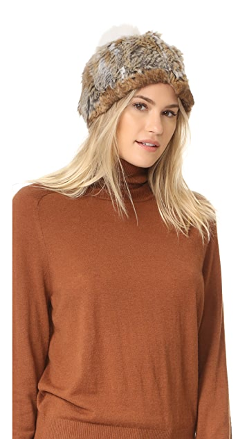 Adrienne Landau Knit Fur Hat with Fur Pom