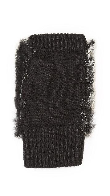 Adrienne Landau Knit Fingerless Mittens with Fur Trim