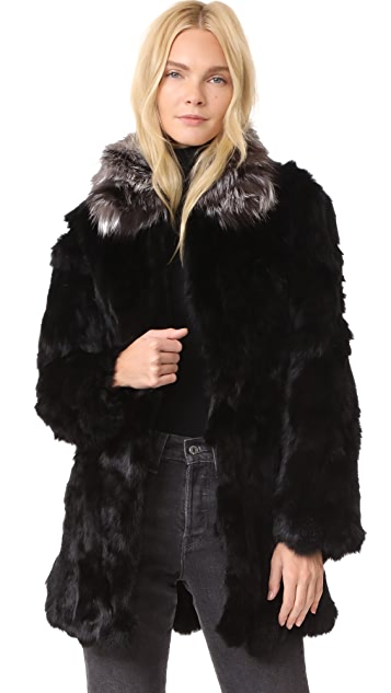 Adrienne Landau Rabbit Coat With Fox Collar