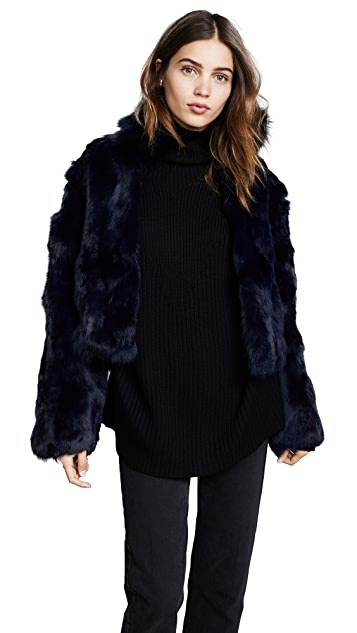 Adrienne Landau Fur Jacket With Fox Collar