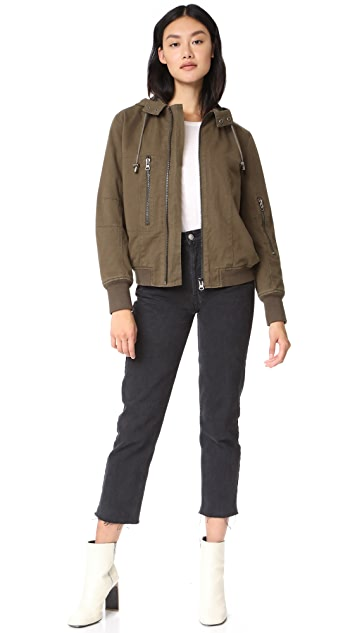 Adrienne Landau Fur Lined Canvas Bomber