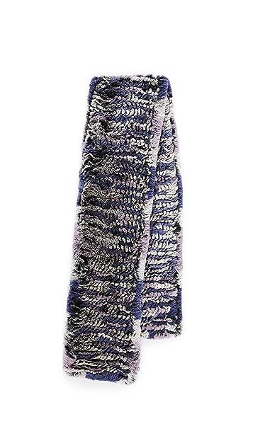 Adrienne Landau Knit Rex Rabbit Fur Scarf
