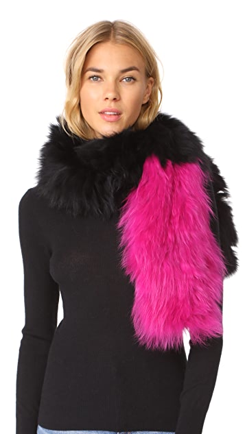 Adrienne Landau Two Tone Knit Fox Fur Scarf