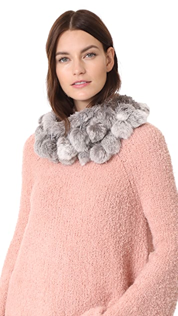 Adrienne Landau Rabbit Cowl Scarf with Fur Pom Pom - Natural Grey