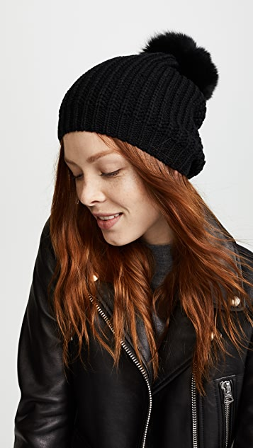 Adrienne Landau Knit Hat with Fox Fur Pom Pom  469e131f848