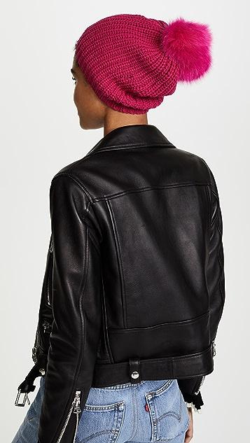 Adrienne Landau Knit Hat with Fox Fur Pom Pom