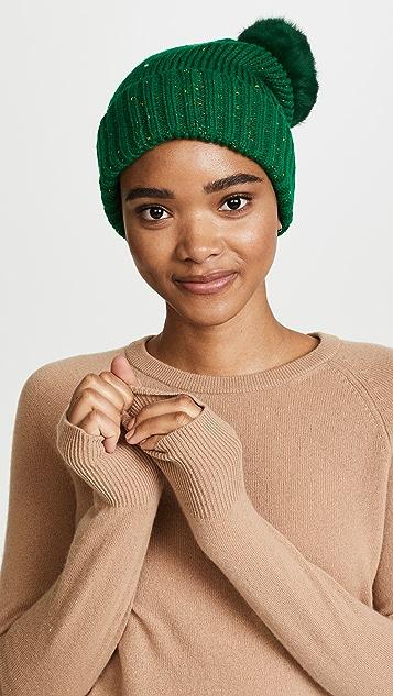 Adrienne Landau Knit Hat with Fur Pom Pom ... b01260ef874