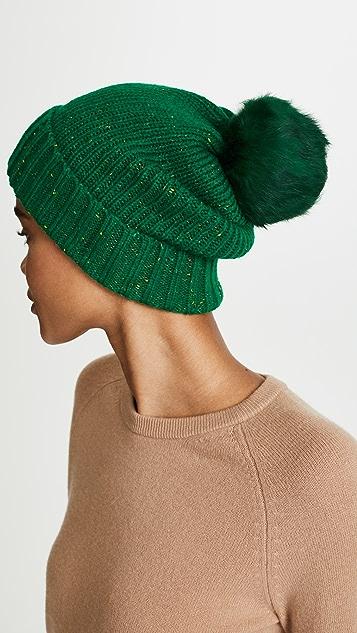 Adrienne Landau Трикотажная шапка с меховым помпоном