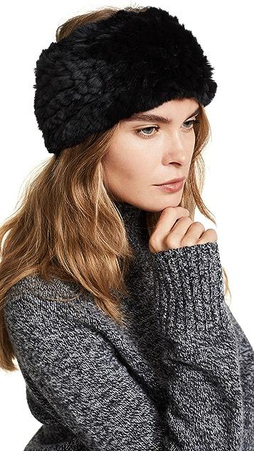 ... Adrienne Landau Knit Rex Rabbit Fur Headband 9d76acca968