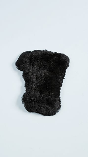 Adrienne Landau Rex Rabbit Fur Fingerless Gloves