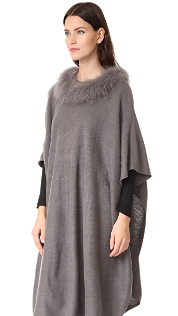 Adrienne Landau Poncho with Fox Fur Trim