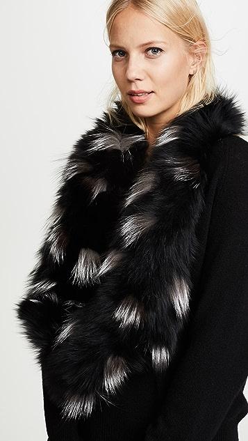 Adrienne Landau Spotted Knit Fox Scarf