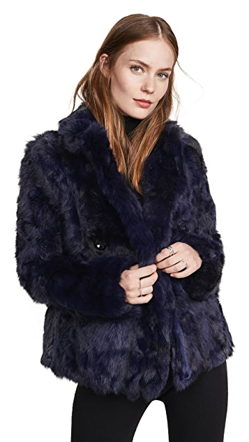 Adrienne Landau Textured Rabbit Pea Coat