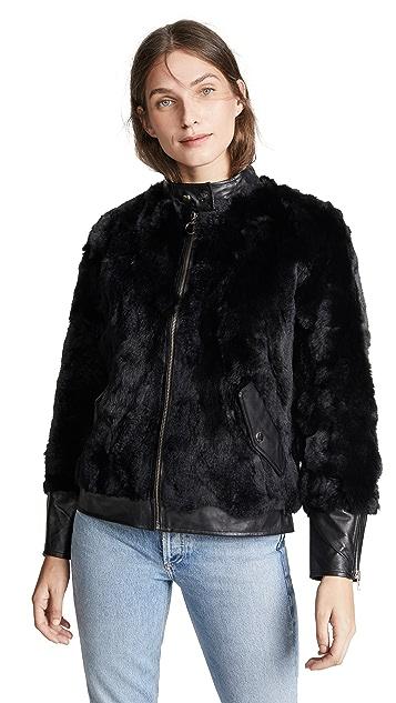 Adrienne Landau Fur Bomber with Leather Trim