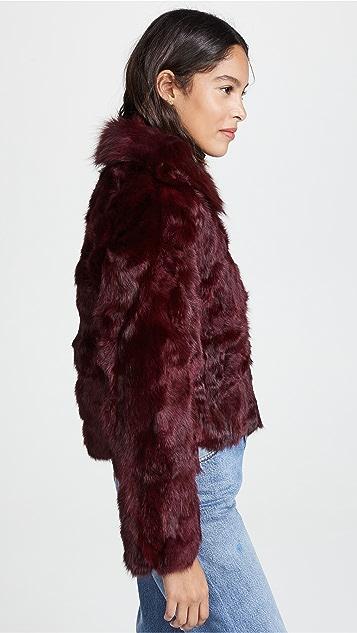 Adrienne Landau Rabbit Jacket with Fox Collar