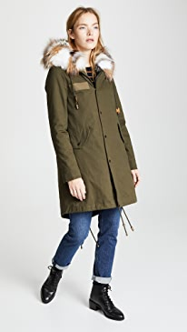 Canvas Parka with Rabbit Fur Liner