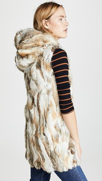 Adrienne Landau Canvas Parka with Rabbit Fur Liner