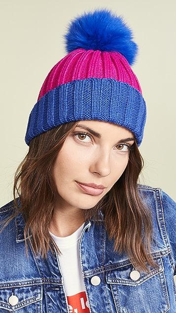 Adrienne Landau Ribbed Two Tone Hat with Fur Pom ... 4e38555ea7e