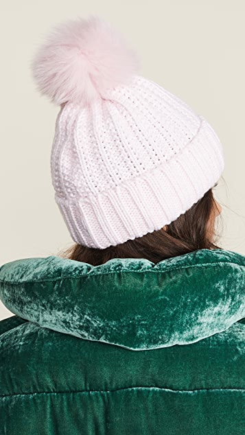 Adrienne Landau Knit Hat with Fur Pom