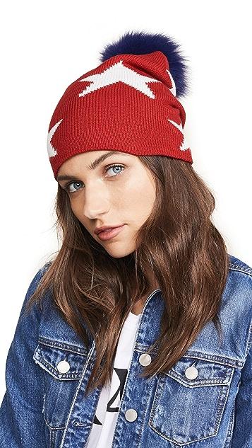 Adrienne Landau Multi Star Hat with Fur Pom