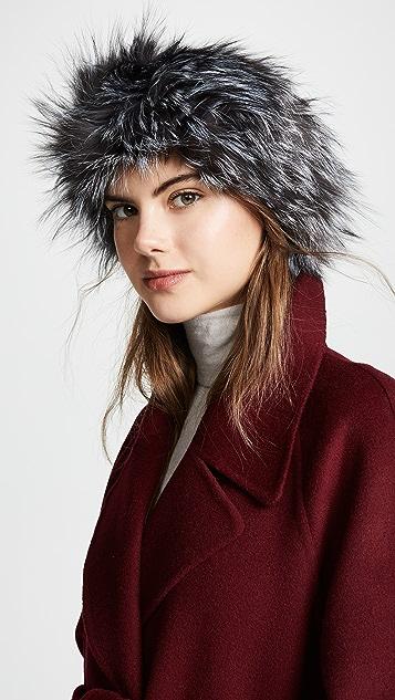 Adrienne Landau Natural Fox Fur Headband ... 1ca018e6ef6