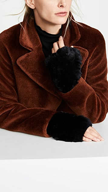 Adrienne Landau Rabbit Fur Fingerless Gloves