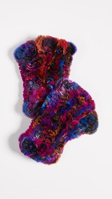 Adrienne Landau Rabbit Fur Fingerless Gloves - Bright Multi