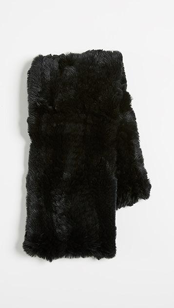 Adrienne Landau Knit Rex Fur Loop Scarf