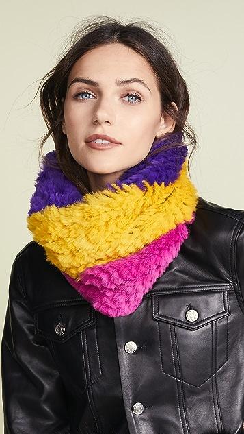 Adrienne Landau Tri-Tone Knit Fur Cowls Scarf