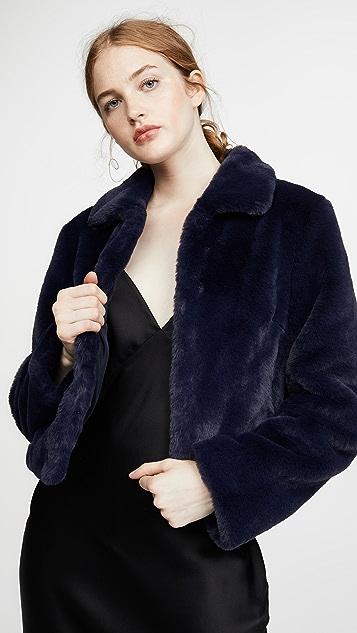 Adrienne Landau Short Faux Fur Jacket