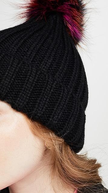 Adrienne Landau Acrylic Hat With Fox Pom Pom