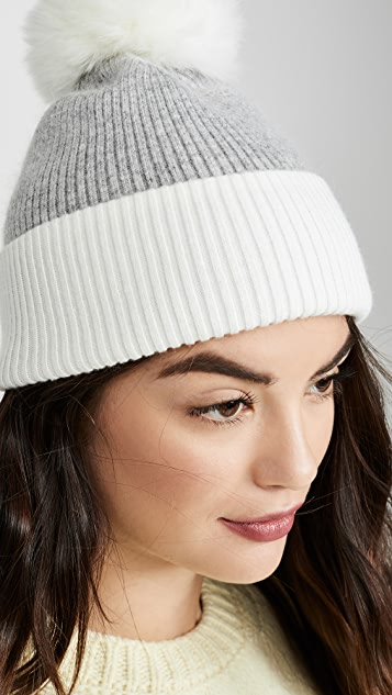 Adrienne Landau Wool Blend Fox Pom Pom Hat