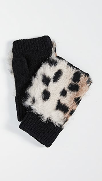 Adrienne Landau Rabbit Fur Fingerless Gloves