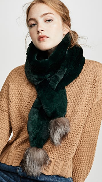 Adrienne Landau Knit Rabbit Scarf With Fox Poms
