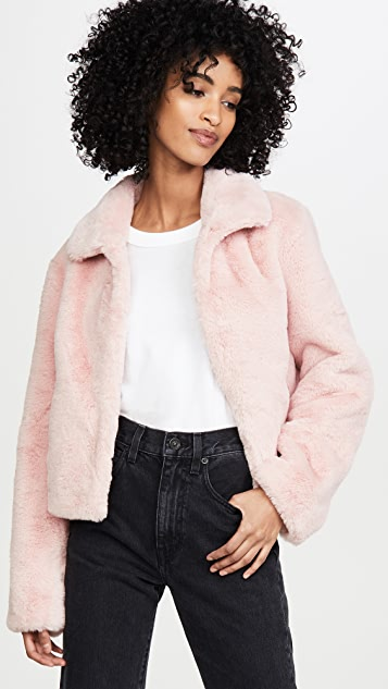 Adrienne Landau Short Faux Fur Jacket