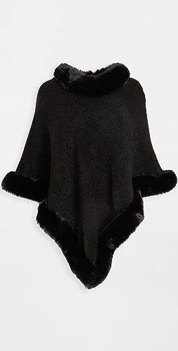 Adrienne Landau - Faux Fur Knit Cape