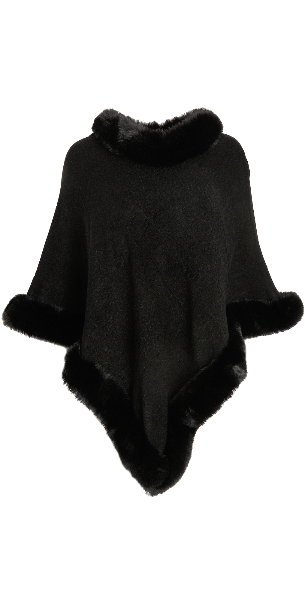 Adrienne Landau Faux Fur Knit Cape