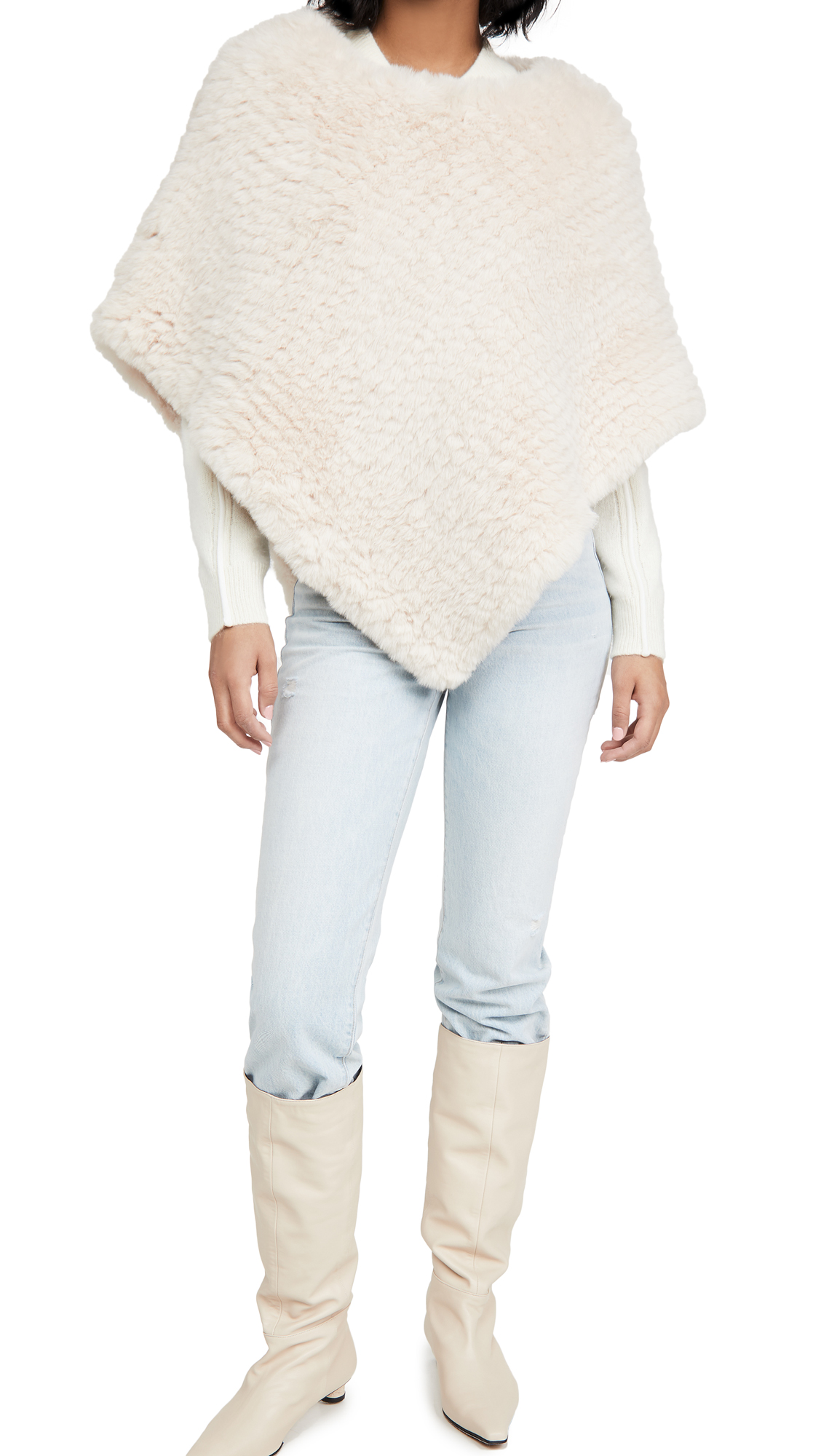 Adrienne Landau Faux Fur Knit Poncho