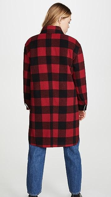 Avec Les Filles 水牛皮格纹羊毛衬衣式夹克