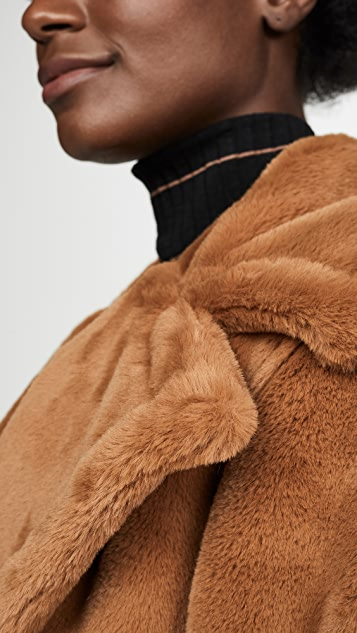 Avec Les Filles 单排扣人造皮毛外套