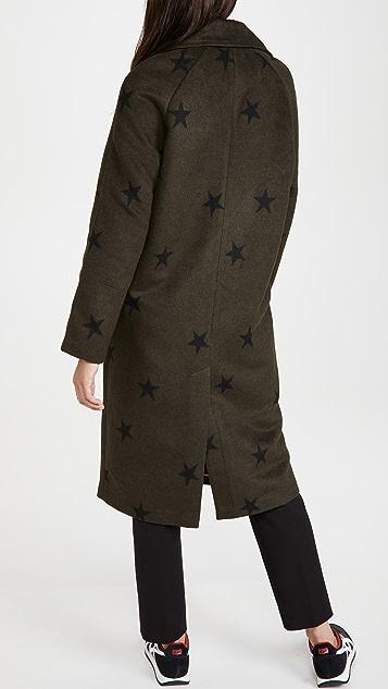 Avec Les Filles Star Print Wool Coat