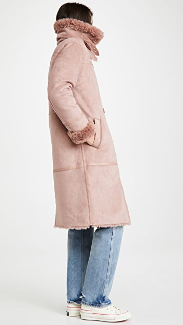 Avec Les Filles Double Breasted Sherpa Coat