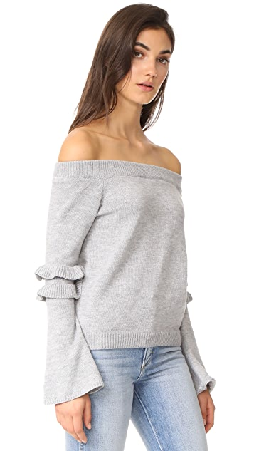 After Market Off Shoulder Ruffle Sweater